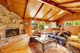 log home interior log cabin house interior with vaulted ceiling luxury living stock