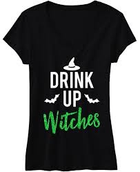 drink up witches halloween shirt with green glitter print