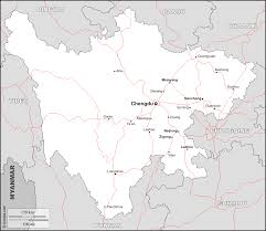 Chengdu China Map by Sichuan Free Map Free Blank Map Free Outline Map Free Base Map