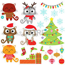 cat and mouse cartoon funny christmas santa claus royalty free