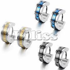 boys earrings 1 pair fashion men s stainless steel earring numeric engrave