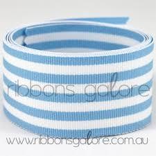 blue and white striped ribbon baby blue white 5 stripe grosgrain 38mm wide per metre