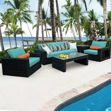 Wicker Patio Conversation Sets Gentilly 5 Piece Wicker Patio Conversation Set W Sunbrella Canvas
