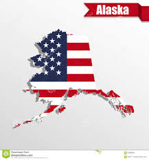 Alaska State Map by Alaska State Map With Us Flag Inside And Ribbon Stock Illustration