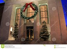 gorgeous holiday decorations on front of adirondack trust bank