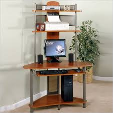 Printer Storage Modern Small Corner Computer Desk With Many Storage Interior For