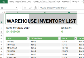 Inventory Excel Templates Warehouse Inventory Excel Template