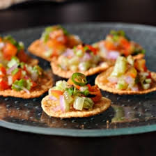 indian appetizers fried mini papads loaded with indian style spicy cucumber