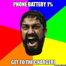 Meme Creatro - phone battery 1 get to the charger sparta meme creator