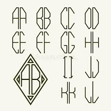 create monogram initials set 1 templates of letters to create monogram stock vector