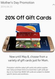 app gift cards samsung pay 20 gift cards in app southwest whole foods