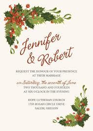 Christmas Wedding Invitations Classic Chrismas Holly Tree And Mistletoe Winter Wedding