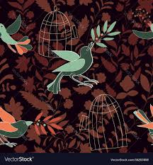 Wallpaper With Birds Dark Colorful Seamless Wallpaper With Birds Olive Vector Image