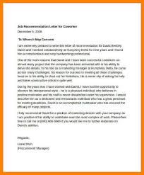 7 co worker letter of recommendation incidental report