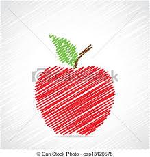vectors illustration of red sketch apple design stock vector
