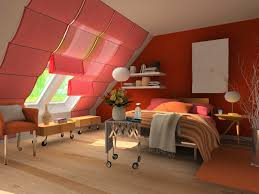 splendid red wall painting attic bedroom color schemes with