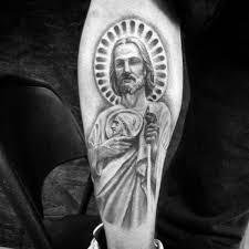 st jude tattoo negative space st jude male forearm tattoo ideas