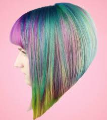 women u0027s short blunt sharp angled bob with full bangs and rainbow color