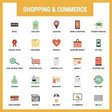 shopping and commerce flat icons set vector free download