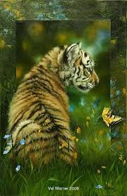 baby tiger and swallowtail butterfly sculpture by val warner