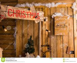 christmas still life of log cabin with mailbox stock photo image