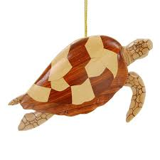 hawaiian sea turtle ornament checkered with fins ornament