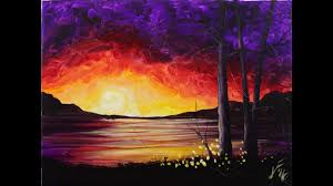 sunset at the lake step by step acrylic painting on canvas for beginners
