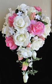 cascading bouquet touch pink white rosess cascading bouquet