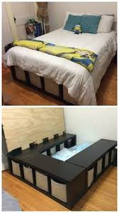 Bargain Bed Frames Build An Inexpensive Bed With Storage Using Bookcases Storage