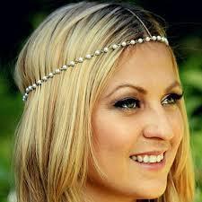 grecian headband simple charm pearl hair jewelry for women metal gold chain
