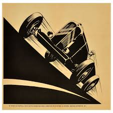 1930s art deco citroen petite rosalie racing car wall