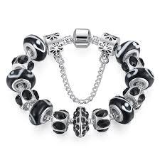 crystal charm bracelet beads images 5 colors silver purple crystal bead charm bracelet with safety jpg