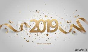 Happy New Year 2019 Golden numbers with ribbons and confetti on a