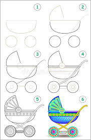 shows learn step step draw baby carriage