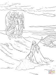 abraham and the three angels coloring page free printable