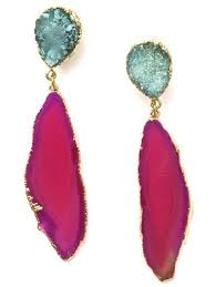 pink drop earrings druzy and agate drop earrings more colors accessory concierge