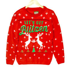 let u0027s get blitzen reindeer beer tacky ugly christmas sweater the