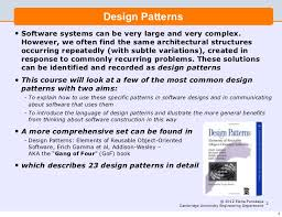of four design patterns lecture 5 software engineering and design design patterns