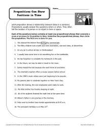 preposition worksheet prepositions can show positions in time