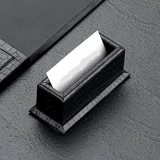 Embossed Business Card Holder Black Croco Leather Desk Blotter And Accessories Set