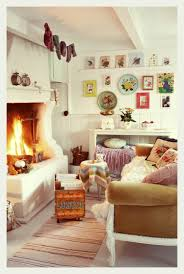 Bohemian Style Decorating Ideas by Cosy Bohemian Living Space Kitsch Wall Art Open Fire Place