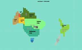 New Zealand And Australia Map Australia And New Zealand Population Cartogram Maps Of Australia