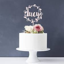 name cake toppers personalised floral name cake topper