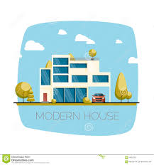 Design House Free Modern House Flat Design Vector Illustration Stock Vector Image
