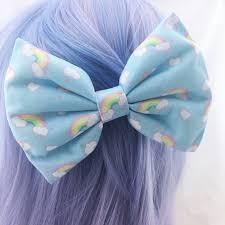 large hair bows kawaii pastel blue rainbow and clouds handmade large hair bow hair