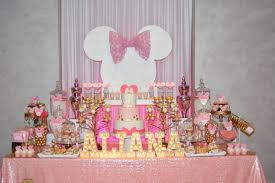 pink and gold cake table decor pink and gold minnie mouse first birthday dessert table decor with
