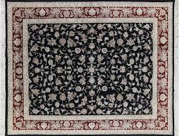 area rugs wool 8 u0027x10 u0027 black herati design floral wool u0026 silk tabriz hand knotted