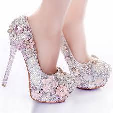 wedding shoes rhinestones rhinestone flower pink wedding shoes stiletto heel 14cm