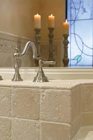 Bridge Faucet Bathroom by Tumbled Marble Tile Kitchen Traditional With Apron Sink Bridge