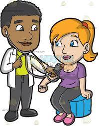 a doctor checking the blood pressure of his female patient cartoon